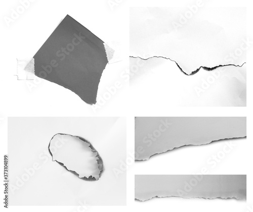Valokuvatapetti rip paper tears isolated on white background with copy space