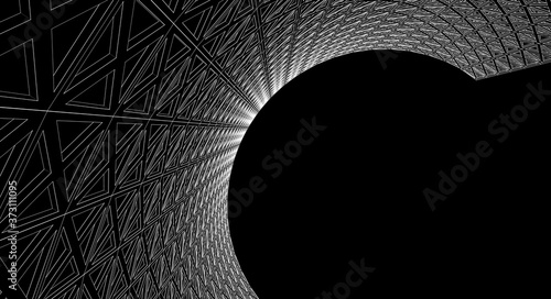 abstract architecture cylinder 3d illustration