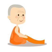 Cartoon Buddhist Monk Vector