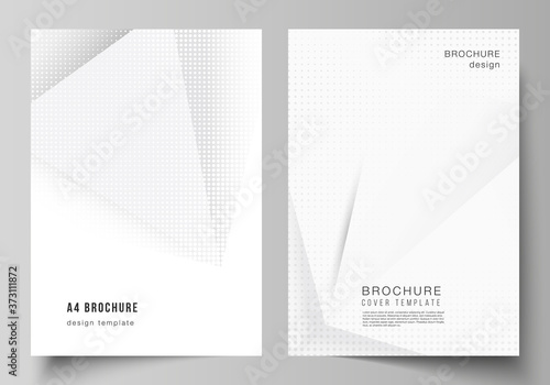 Obraz Vector layout of A4 cover mockups design templates for brochure, flyer layout, cover design, book design, brochure cover. Halftone dotted background with gray dots, abstract gradient background. - fototapety do salonu