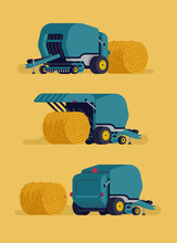 Round Baler Concept Vector Illustration. Baling Hay Process. Farming And Agriculture Machinery And Equipment Item From Different View Angles In Flat Style