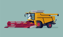 Modern Combine Harvester With Grain Crops Header. Farming And Agriculture Heavy Machinery Equipment Vector Illustration