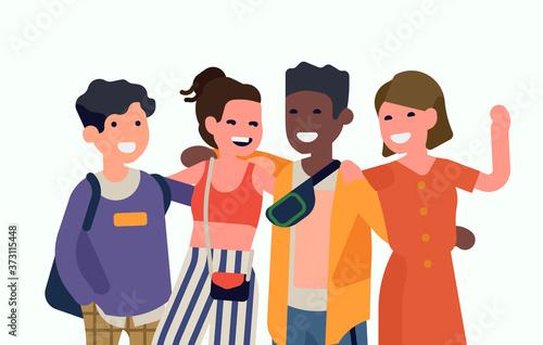 Fototapeta Group of university classmates standing together vector concept