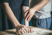 Preparing Pizza Dough. Young C...