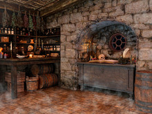 Scene Of A Witch Room, With Skulls, Crystal Balls, Candles, Herbs, And Mists.