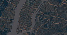 Detailed Vector Map Of New York City, New York, USA