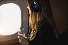 Attractive Woman In Private Jet