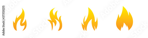 Fotografía Set of fire vector icons. Concept flame, fire, flat style