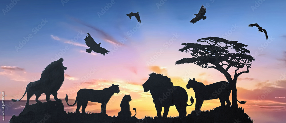 Fototapeta  Generic Stock vector of a Pride of Lions on the African Savannah with a composite sunset background.  This can be used as wallart or a mural, there are no identifiable logo's present.