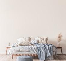 Beige And Blue Bedroom Interior Background, 3d Render