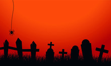 Tombstone Silhouette Set For Halloween Gravestone Vector Image. Orange Design Background For Scary Halloween And Celebrate Thanksgiving, Vector Illustration