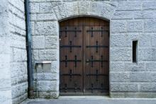 Old Wooden Castle Exterior Facade Door