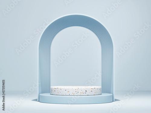 Fototapeta Mockup podium for product presentation, 3d  rendering of showroom or exhibition premium background obraz