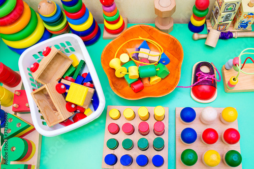 Fotografie, Tablou Children's wooden educational toys. Bright toys