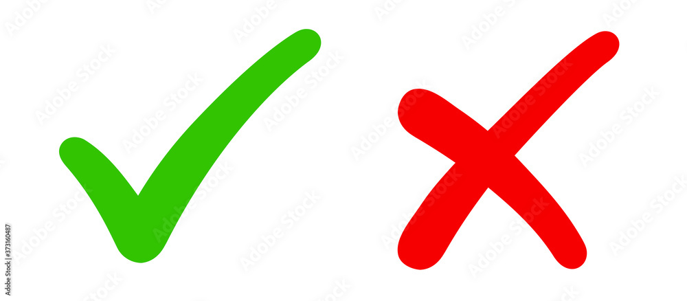 Fototapeta Check mark, tick and cross brush signs, green checkmark OK and red X icons, symbols YES and NO button for vote, decision, election choice icon - stock vector