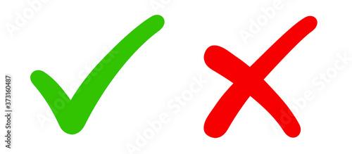 Check mark, tick and cross brush signs, green checkmark OK and red X icons, symb Fototapeta