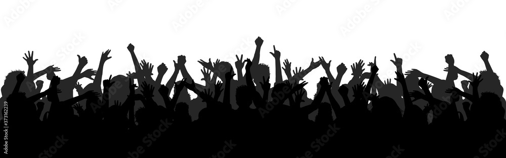 Fototapeta Set hands up revolution. Silhouettes of crowd of people with raised up hands. Protest, revolution, strike, demonstration concept. Political, human rights protest, power and solidarity