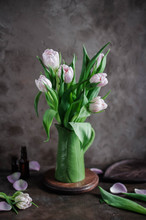 Still Life With Tulips In A Green Vase On A Dark Background. Spring.