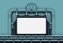 Cinema Theatre Movie Screen Vector Illustration In Retro Styled Yet Clean Design. Vintage Movie Theater Interior With Curtain, Seat Rows And Blank Film Screen