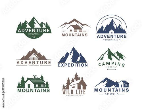 Mountain logo flat vector illustration set Fotobehang