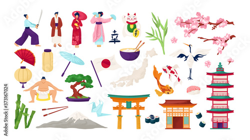 Fényképezés Japan travel and japanese culture set of isolated vector illustrations