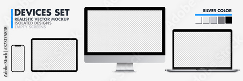 Fototapeta Realistic devices mockup set : Isolated smartphone telephone, laptop computer, tablet, monoblock monitor, on white background