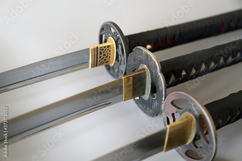 Foto Closeup shot of Japanese Katana sword handles
