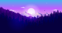 Sunset Over Forest At Night - Nature Landscape Scene At Dawn With Trees, Mountain, Sunlight And Sky. Vector Illustration.