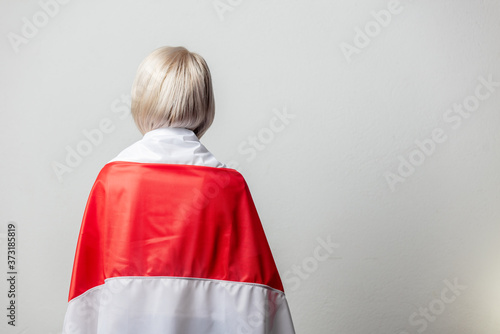 Fotomural woman with national Belarus flag on white background