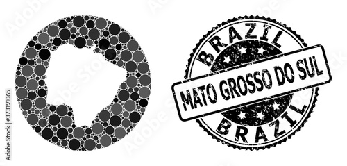 Mosaic Hole Circle Map of Mato Grosso Do Sul State and Scratched Seal Slika na platnu