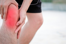 Knee Pain .man Stand At Park  ...