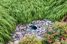 Storm Water Management In Public Space, Plastic Pipe, Rocks, And Shrub Plantings