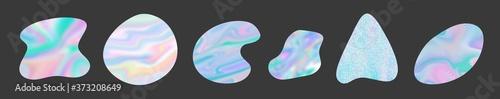 Fotografia modern abstract minimal organic rainbow holographic clip art shapes set isolated