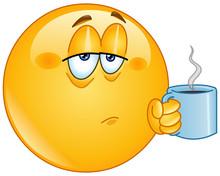Tired Emoji Emoticon Holding Coffee Morning Mug