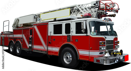 Canvas-taulu Fire engine ladder isolated on background. Vector 3d illustration