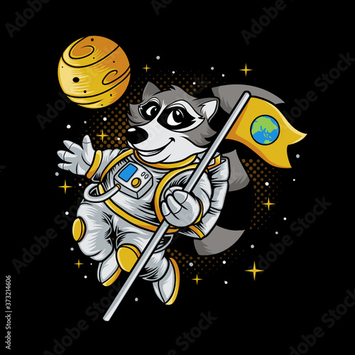 Photo Raccoon astronaut