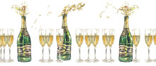 Watercolor Green Champagne Bottle With Cork Flying