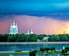 Smolny Cathedral At Sunset. St...