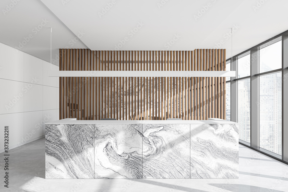 Wooden office interior with reception
