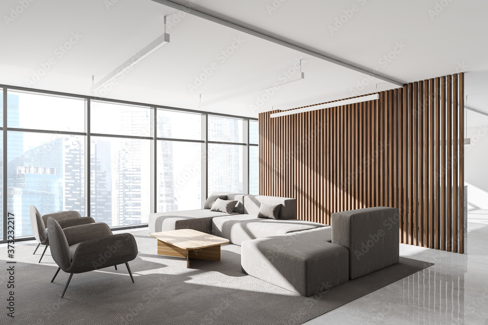 Lounge area in wooden office