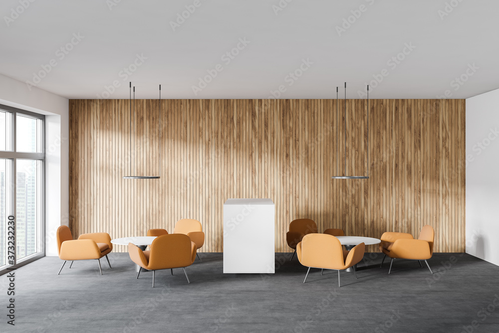 White and wooden waiting room
