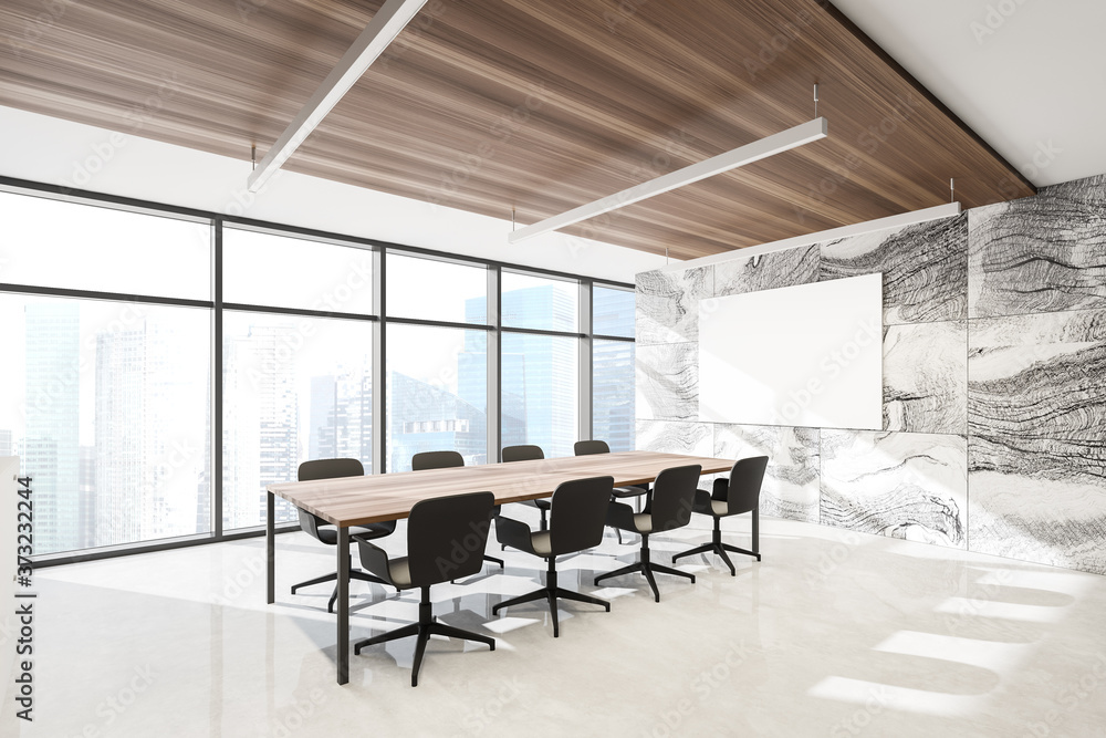 Marble meeting room corner with poster