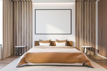 Beige bedroom interior with poster