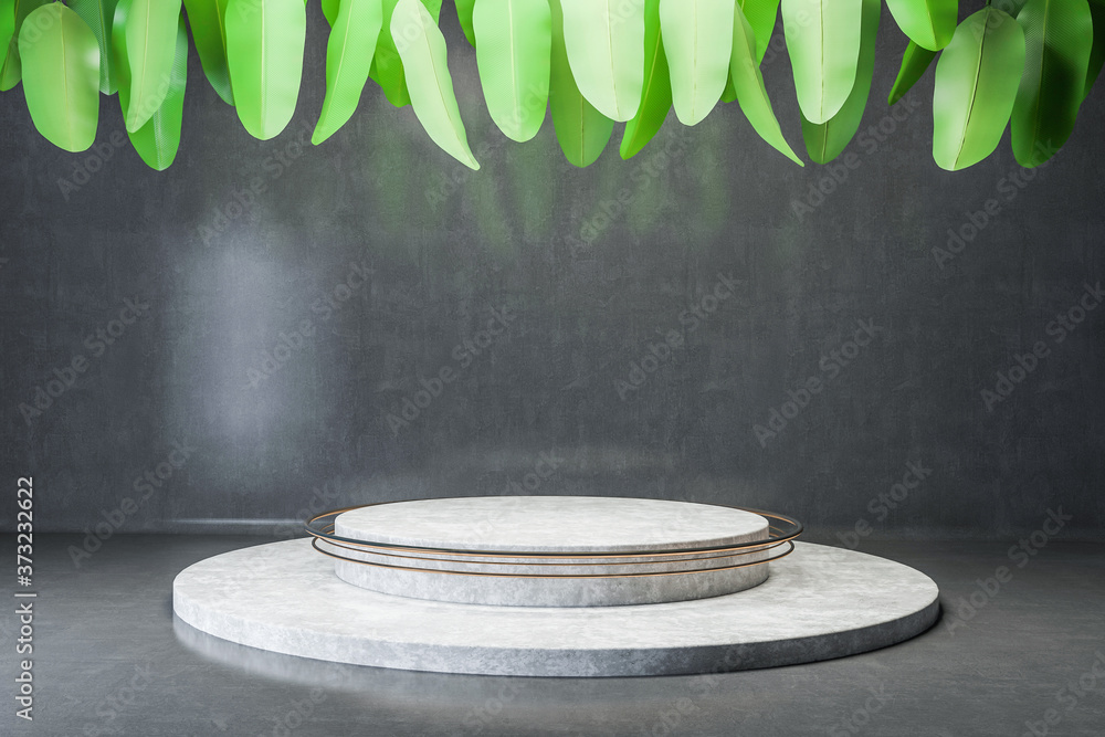 Round platform in concrete room with leaves