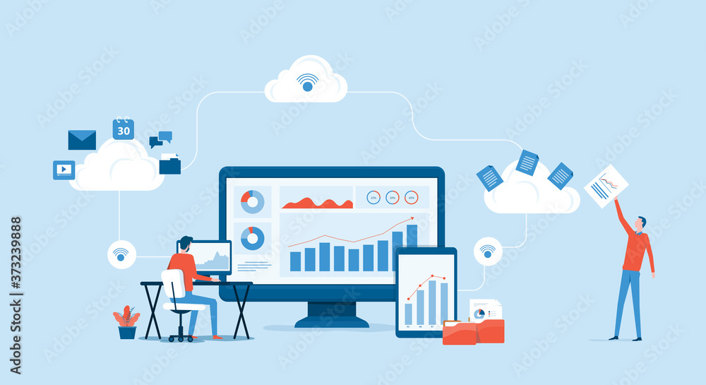 Fototapeta flat vector business technology cloud computing service concept and with developer team working concept