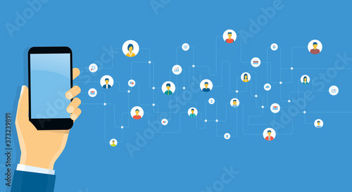 Obraz flat vector abstract social network connection for online business background and working with mobile technology communication concept - fototapety do salonu