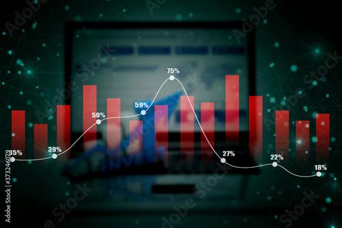 Photo 2d rendering Stock market online business concept