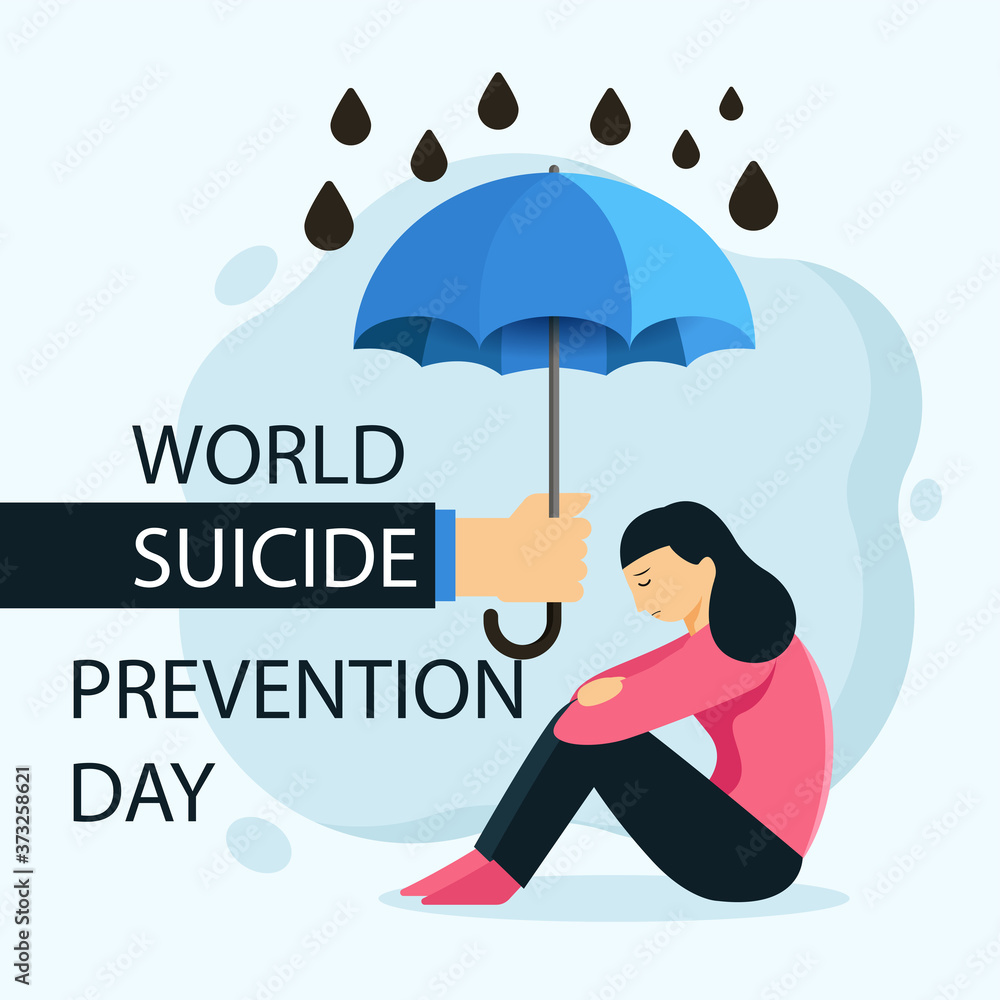 Fototapeta World Suicide Prevention Day   (September 10) concept with awareness ribbon. Colorful vector illustration for web and printing