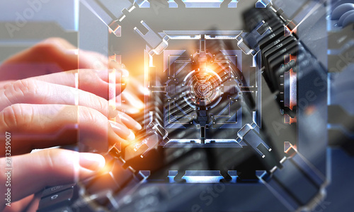 Fotografie, Obraz Technology and innovation concept . Mixed media