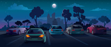 Cars At Parking Lot In Night C...